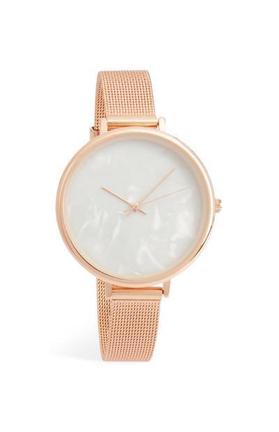 Mesh-Armbanduhr mit perlenfarbenem Ziffernblatt