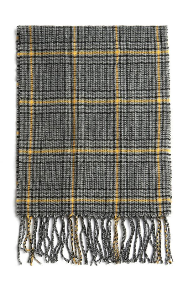 Grey And Yellow Check Tassel Scarf