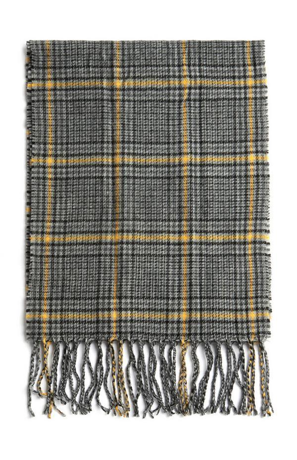 Écharpe grise et jaune à carreaux et franges