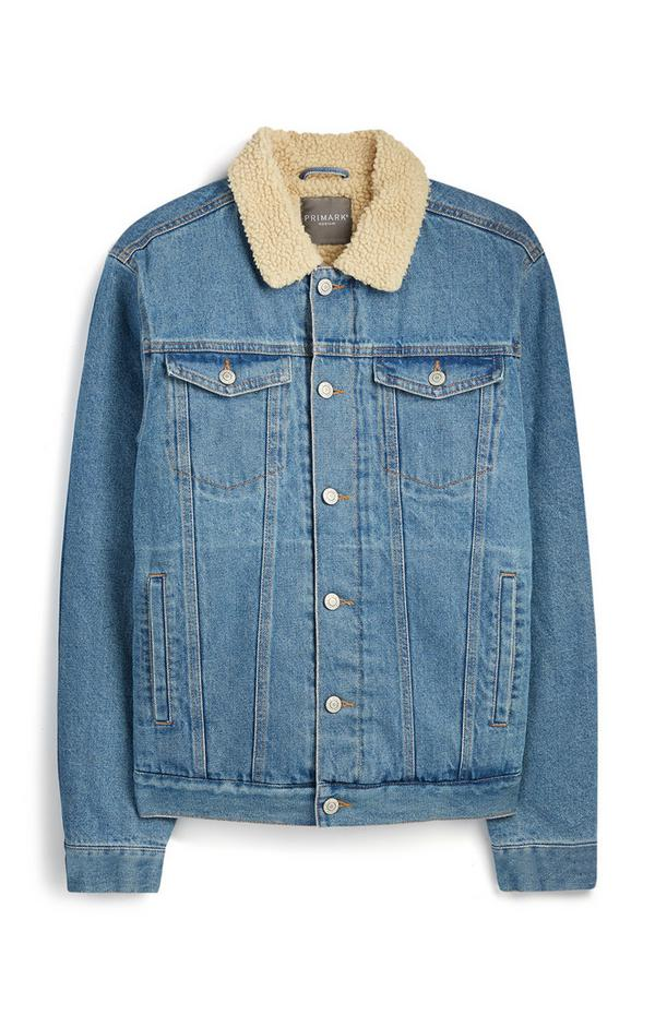 Denim Borg Collar Jacket