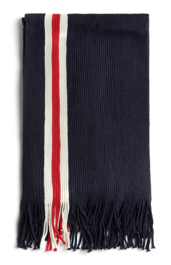 Donkerblauwe sjaal met kwastjes en wit-rode streep