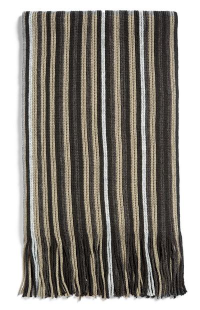 Brown And White Stripe Tassle Scarf