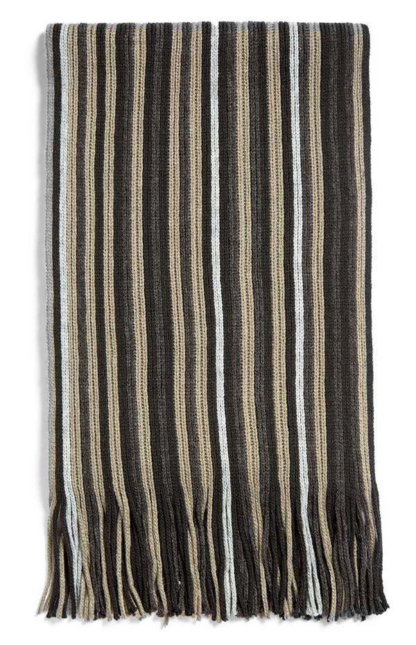 Brown And White Striped Fringed Scarf