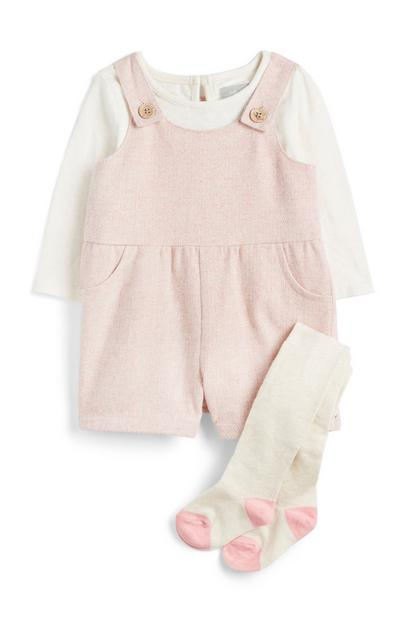 Conjunto 3 peças menina bebé cor-de-rosa