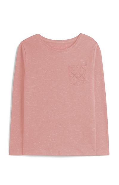 Camiseta rosa para niña pequeña