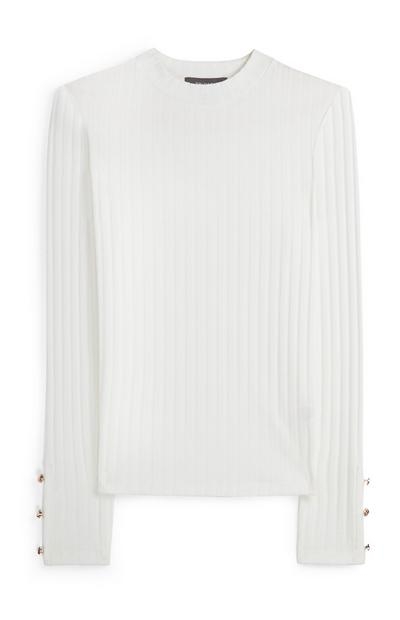 Pull blanc à manches boutonnées