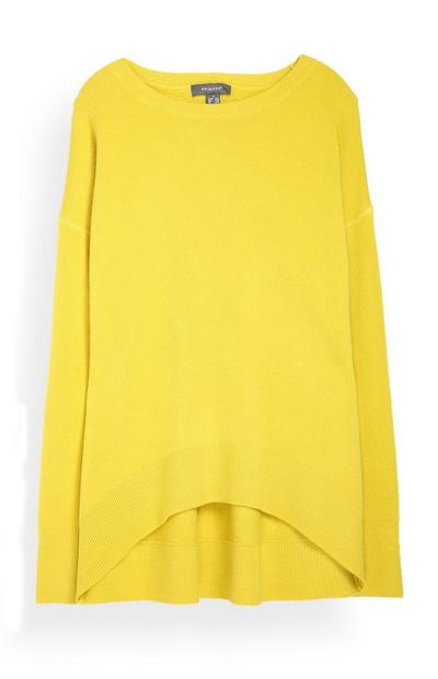 Yellow Curve Hem Sweater