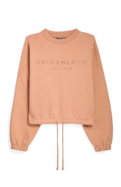 Kimball-5149901-Tan Crop Sweatshirt