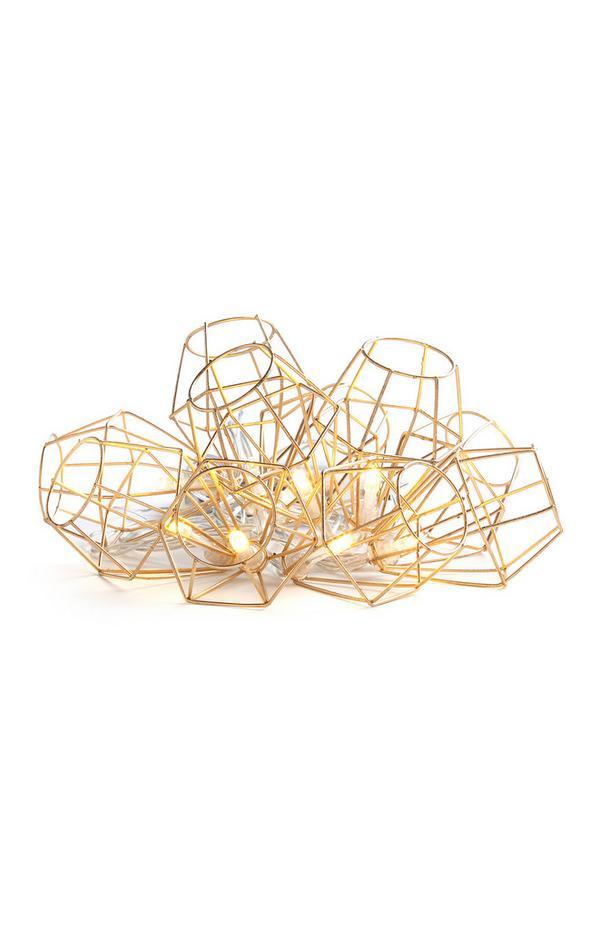 10 luci con filo e paralumi a gabbia