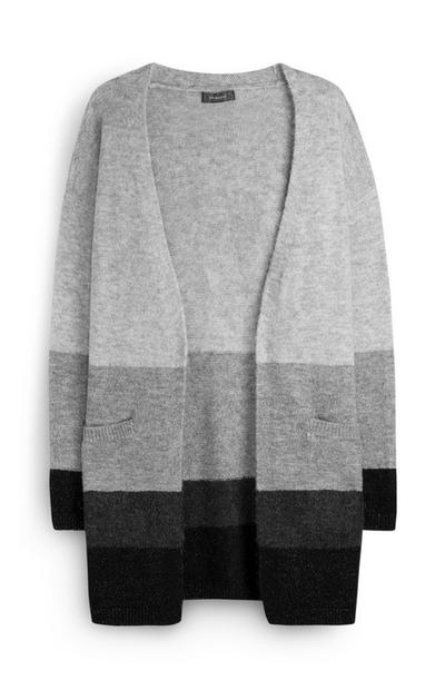 Cardigan color-block gris