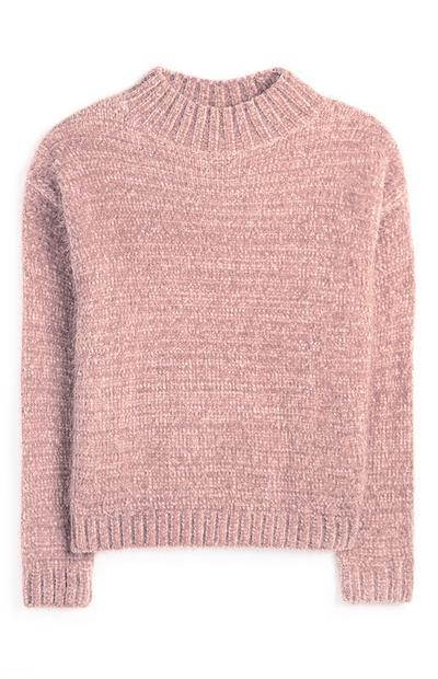 Pink Chenille Mock Neck Sweater