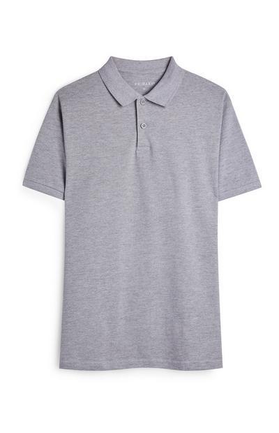 Grey Polo Neck Short Sleeve Shirt