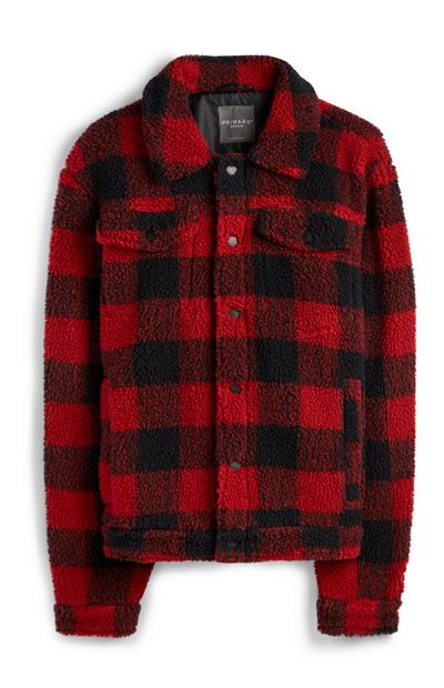 Roodgeruite jas van teddystof