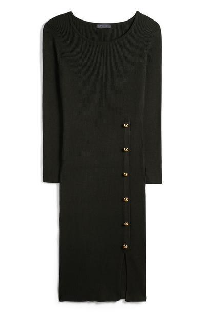 Olive Ribbed Knit Dress