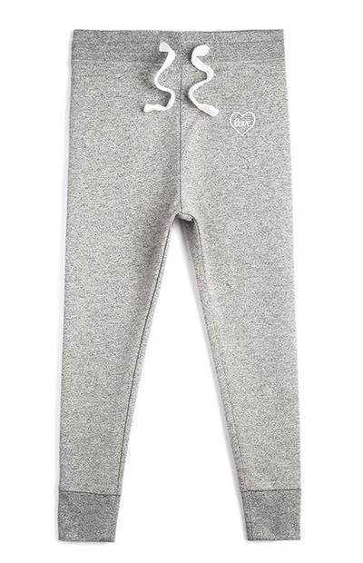 Pantalón de chándal gris para niña pequeña