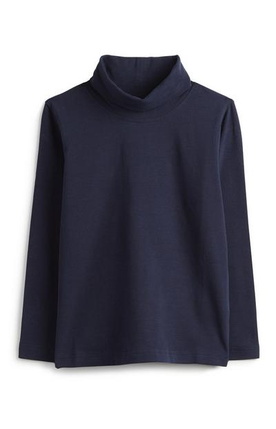 Younger Girl Navy Polo Top