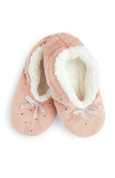 Pantoffels met edelsteentjes, poederroze