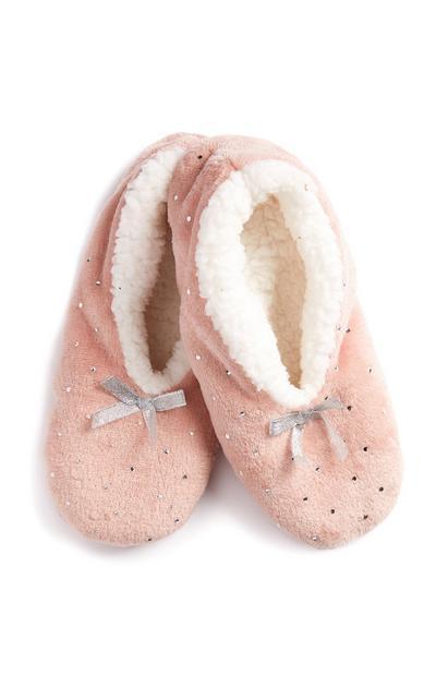 Pink Polka Dot Slipper Socks
