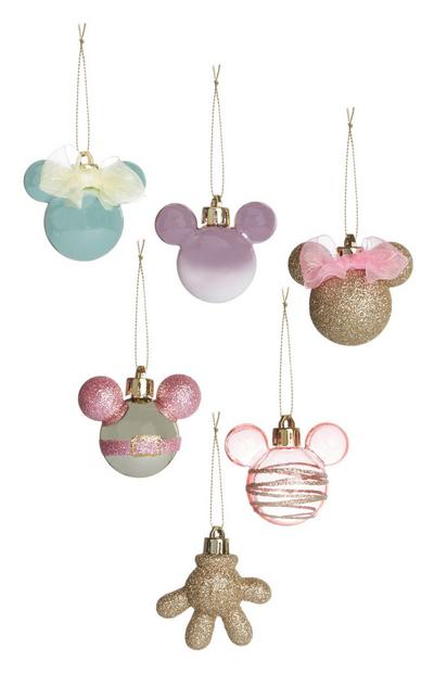 Mickey Mouse Pastles And Gold Baubles 6Pk