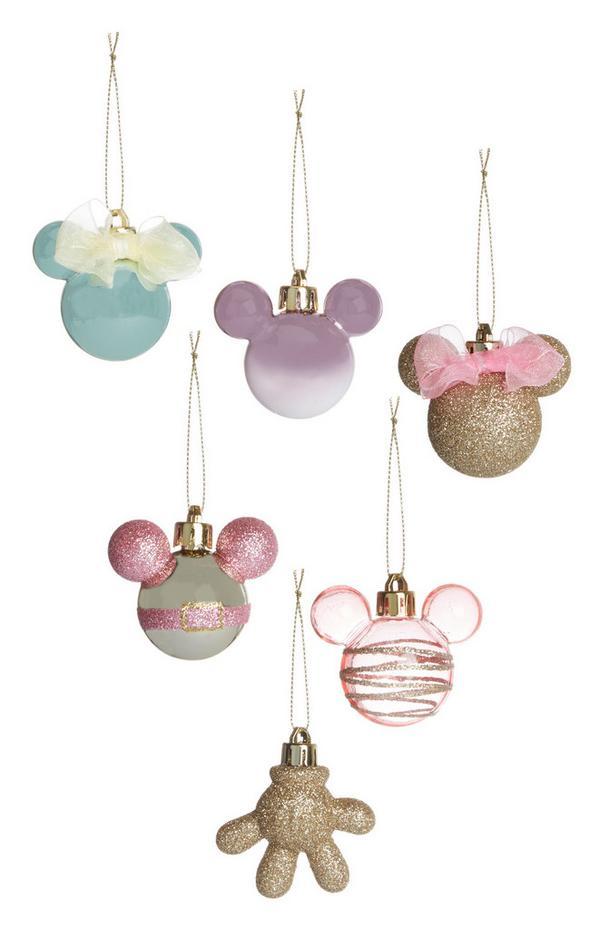 Pastel- en goudkleurige kerstballen Mickey Mouse, 6 stuks