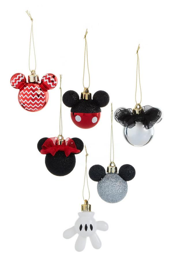 Red And Silver Mickey Mouse Baubles 6Pk