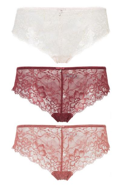 Burgundy Lace Brief 3Pk