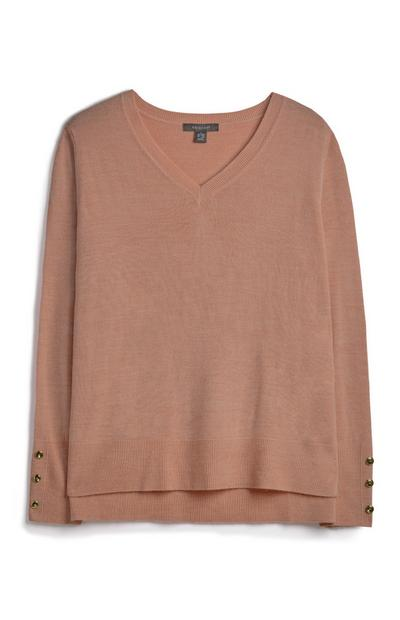 Mocha V-Neck Sweater