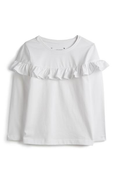 Younger Girl White Frill Top