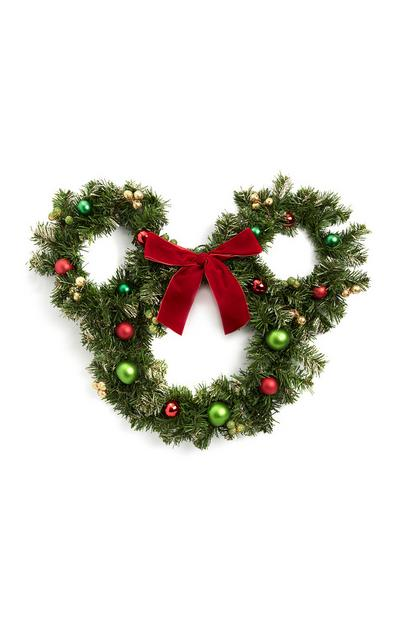 Mickey Mouse Shaped Wreath With Bow And Baubles