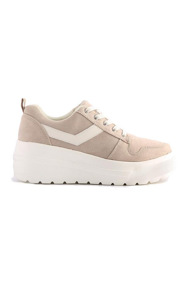 Nudefarbene Plateau-Sneaker