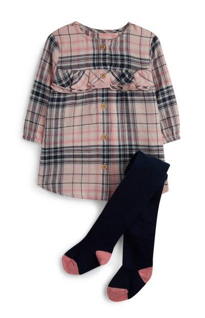 Kariertes Kleid und Strumpfhose für Babys (M)