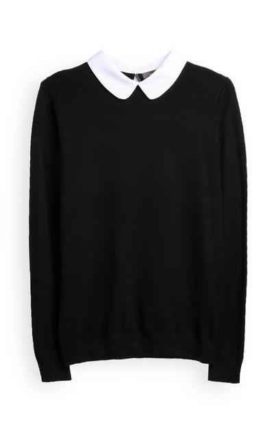 Črna srajca in pulover 2 v 1