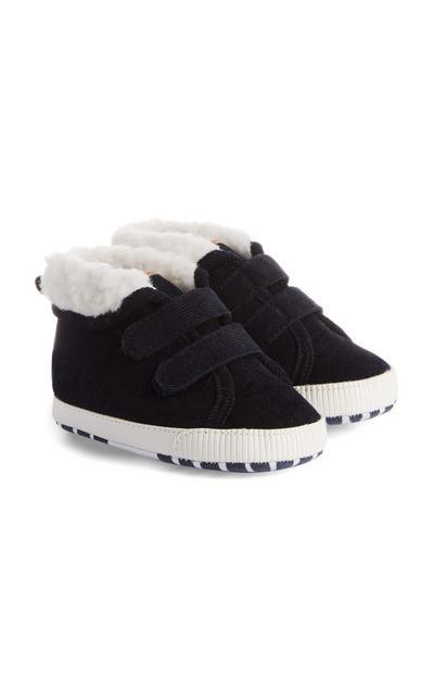 Sapatos veludo bombazina menino bebé azul-marinho
