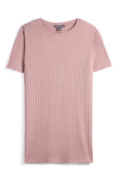Camiseta rosa acanalada