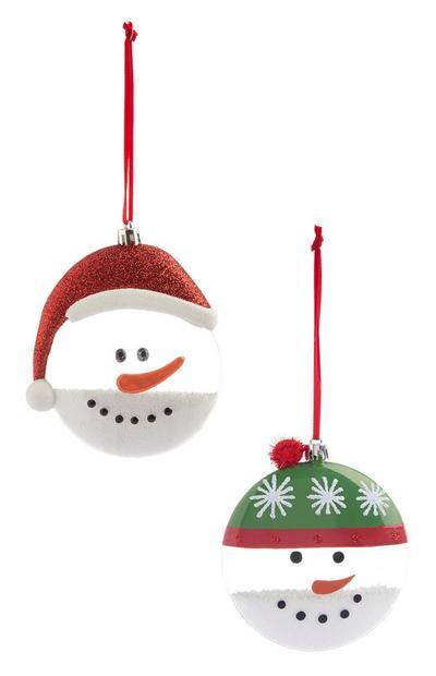 Snowman Baubles 2Pk