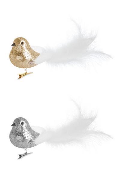 Lot de 2décorations oiseaux à paillettes