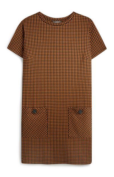 Vestido túnica bolsos xadrez castanho