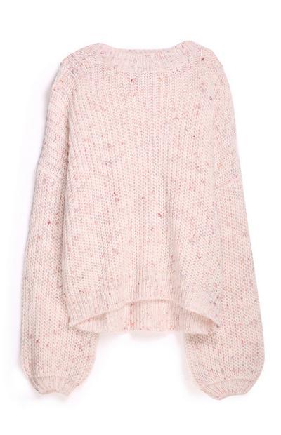 Camisola manga balão cor-de-rosa
