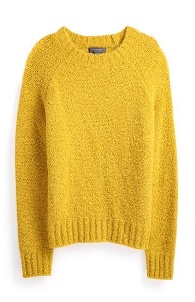 Rumen pulover z okroglim ovratnikom