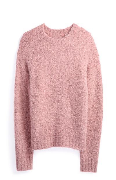 Camisola gola redonda rosa-pálido
