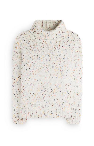 White Mixed Knit Sweater