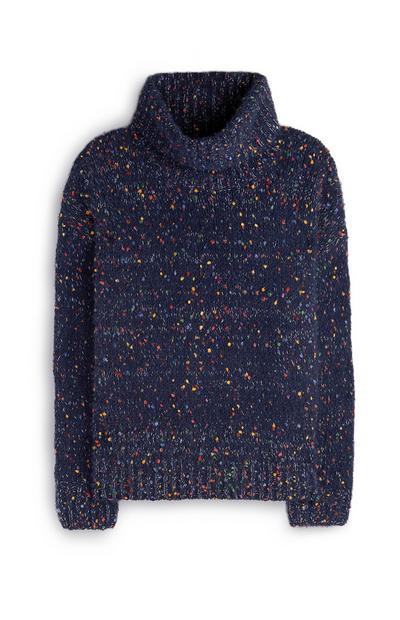 Donkerblauwe gemêleerde gebreide trui