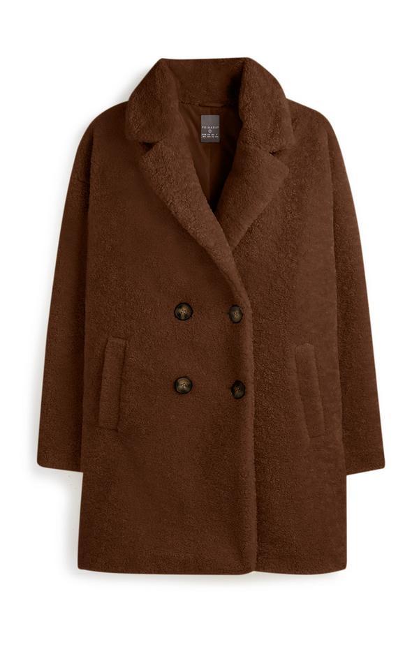 Schokoladenbrauner Mantel aus Teddystoff