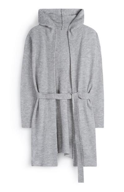 Peignoir gris à ceinture