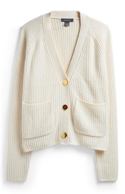 Slonokoščen pulover z gumbi