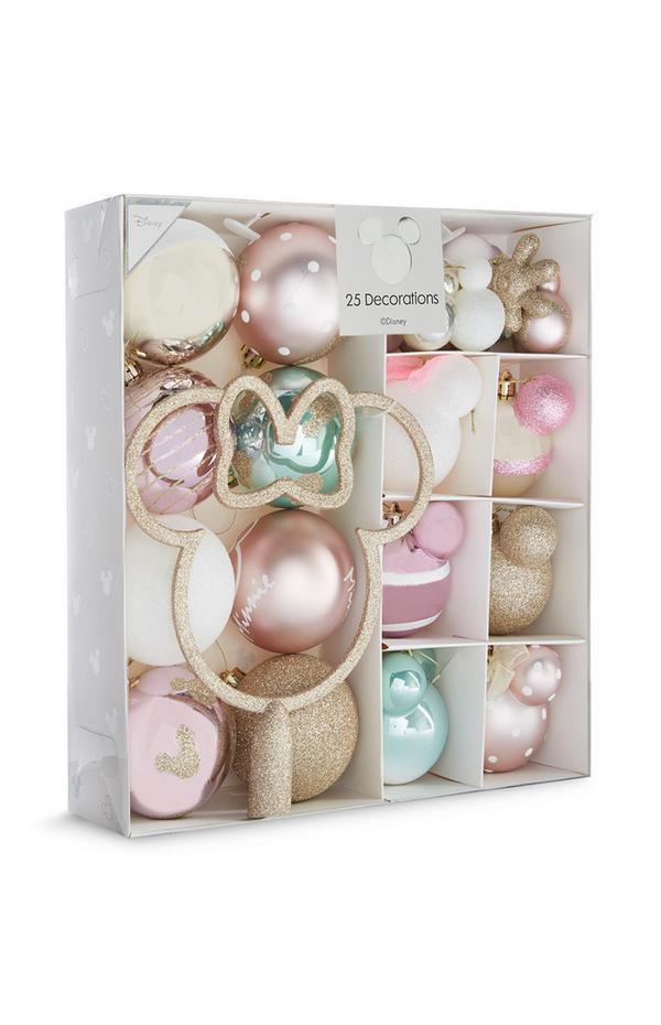 Roze, blauwe en goudkleurige Mickey Mouse-decoraties voor in kerstboom, 25 stuks
