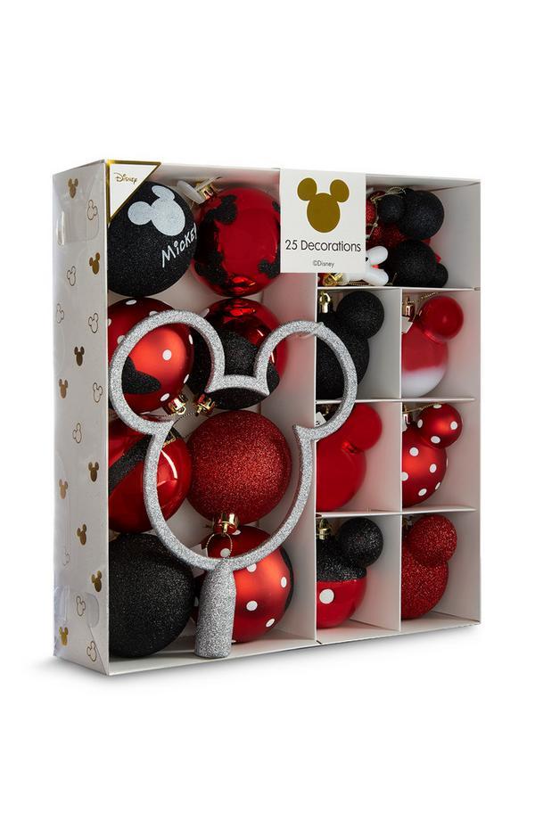 Pack 25 decorações árvore Natal Mickey Mouse preto e vermelho