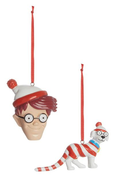 Wheres Wally Christmas Decoration 2Pk