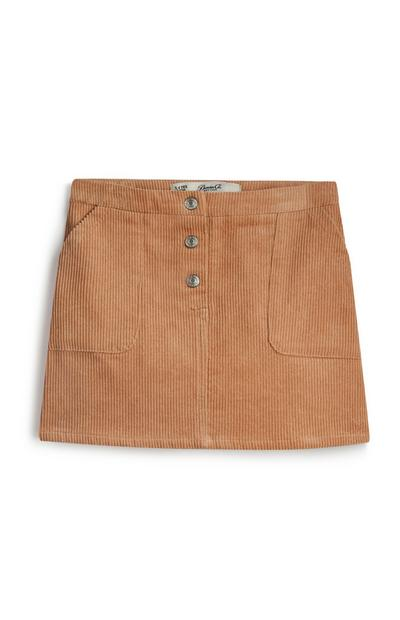 Falda de pana marrón para niña pequeña