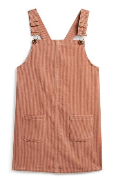 Robe chasuble rose poudré fille